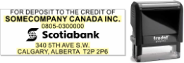 Scotiabank deposit stamp self inking traditional pre-inked